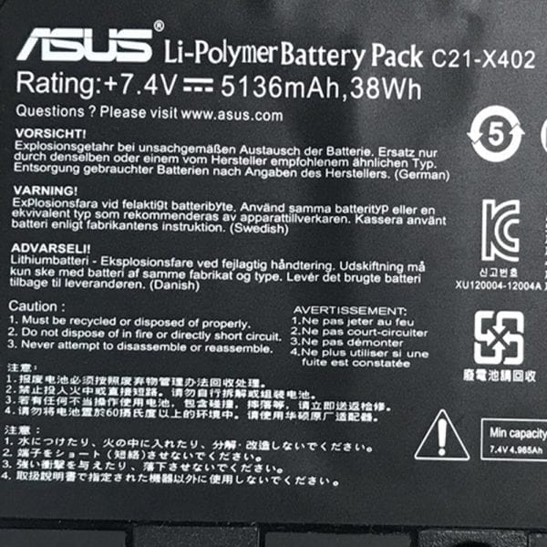 Original laptop battery for  ASUS X402C,X402CA