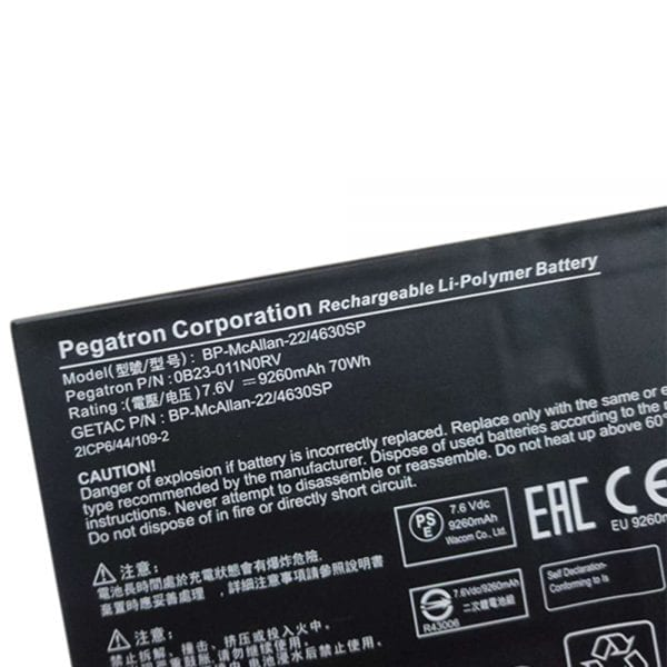 Original laptop battery for  Pegatron Corporation Getac OB23-011NORV