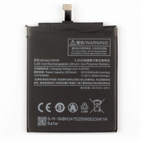 Original cell phone battery BN34 for Xiaomi Redmi 5A