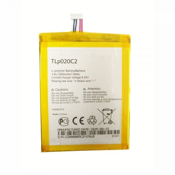 Original cell phone battery TLP020C2 for Alcatel S950 Idol X/S,6034R,6037Y